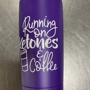 PURPLE RUNNING ON KETONES & COFFEE INSULATED TUMBLER